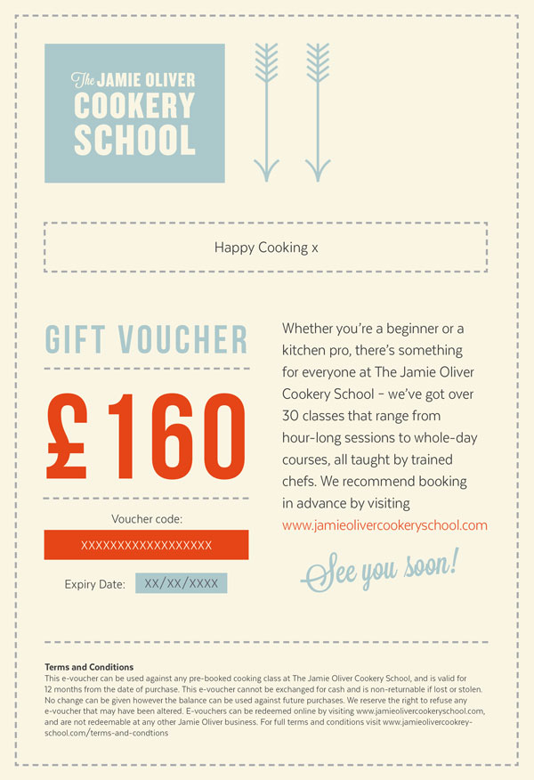 17f3be464bec Treat someone to a Jamie Oliver Cookery School gift voucher
